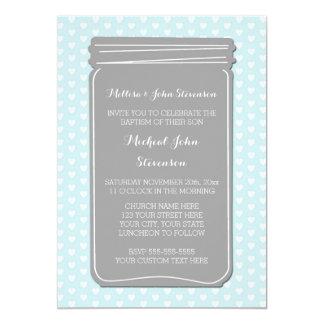 Invitación azul del bautismo de los corazones del invitación 12,7 x 17,8 cm