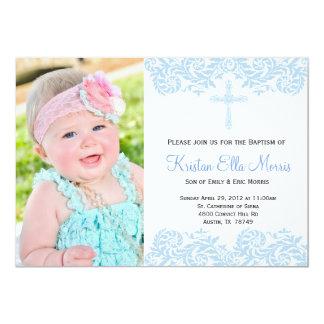 invitación azul del bautismo del bautizo del