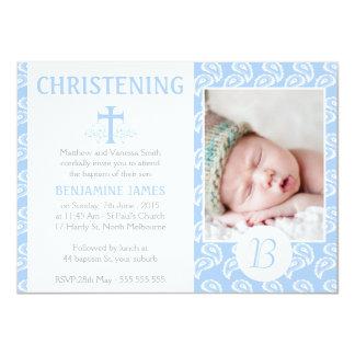 Invitación azul del bautizo del bautismo de