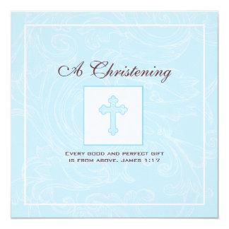 Invitación azul del bautizo del muchacho de la