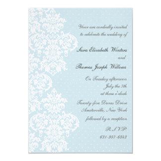 Invitación azul del boda de la cubierta del cordón