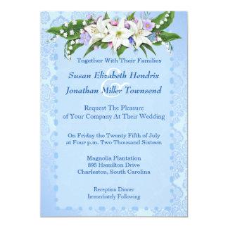 Invitación azul del boda de la flor