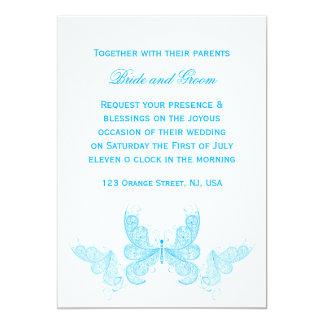 Invitación azul del boda de la mariposa