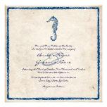 Invitación azul del boda de playa del caballo de m