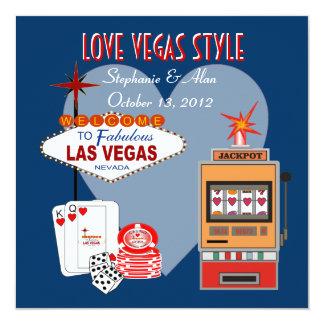 Invitación azul del boda del estilo de Vegas del