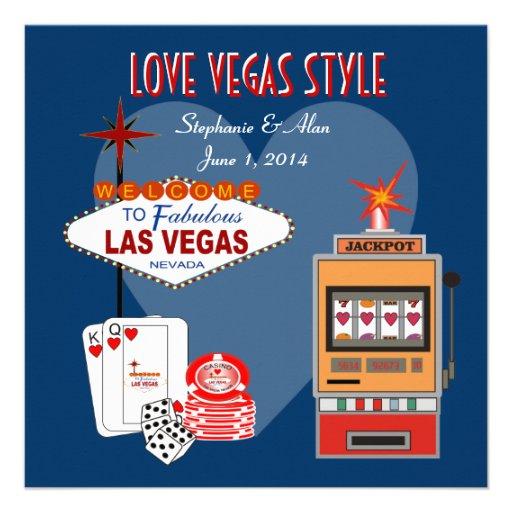 Invitación azul del boda del estilo de Vegas del a