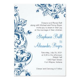 Invitación azul del boda del remolino de la