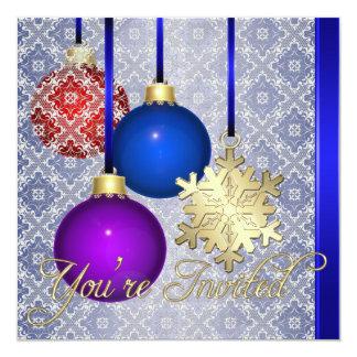 Invitación azul del copo de nieve del cordón de