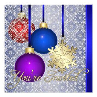 Invitación azul del copo de nieve del cordón de la