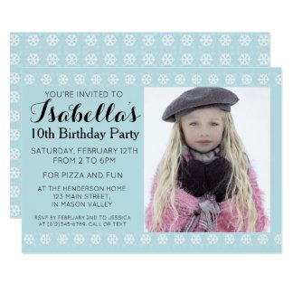 Invitación azul del cumpleaños de la foto del copo