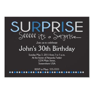 Invitación azul del cumpleaños de la sorpresa