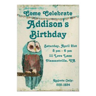 Invitación azul del cumpleaños del búho invitación 12,7 x 17,8 cm