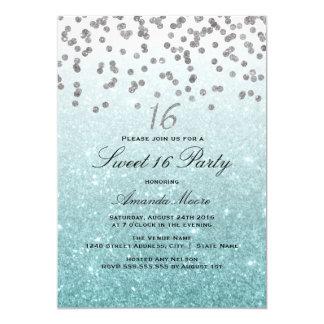 Invitación azul del dulce 16 del confeti del