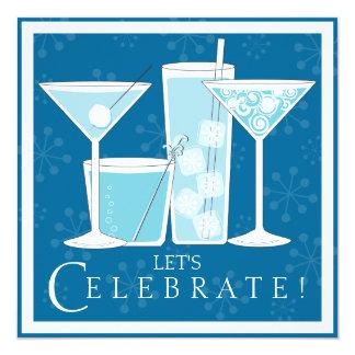 Invitación azul del fiesta de la celebración del