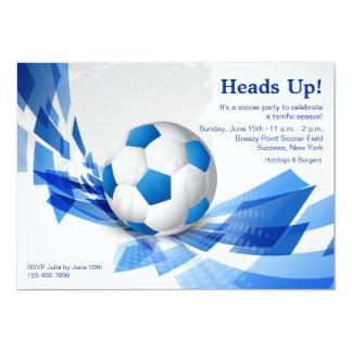Invitación azul del fiesta del balón de fútbol