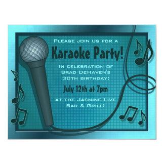 Invitación azul del fiesta del Karaoke del