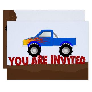 Invitación azul del monster truck
