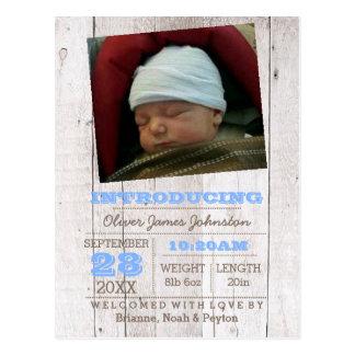 Invitación azul del nacimiento de la foto de la postal