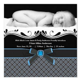Invitación azul del nacimiento de la foto del bebé