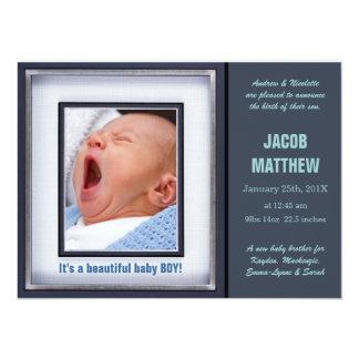 Invitación azul del nacimiento del bebé invitación 13,9 x 19,0 cm