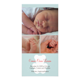 Invitación azul del nacimiento del bebé del montaj tarjeta fotografica