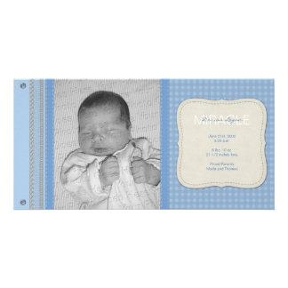 Invitación azul del nacimiento del vintage de la tarjetas personales