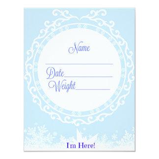 Invitación azul del nacimiento para un bebé