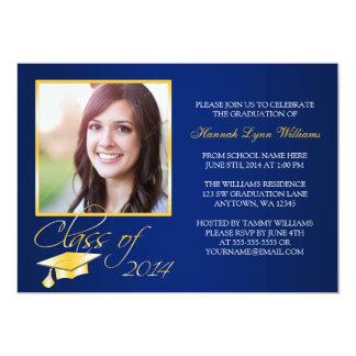 Invitación azul elegante de la graduación de la invitación 12,7 x 17,8 cm