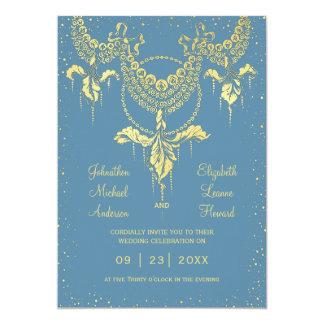 Invitación azul elegante del boda de la guirnalda