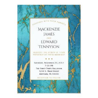 Invitación azul elegante del boda del mármol del