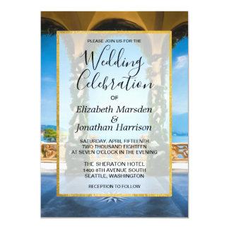 Invitación azul elegante del boda del oro verde de