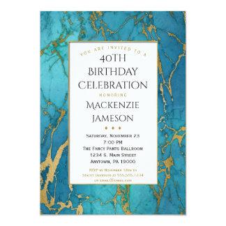 Invitación azul elegante del cumpleaños del mármol