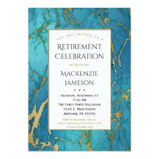 Invitación azul elegante del retiro del mármol del