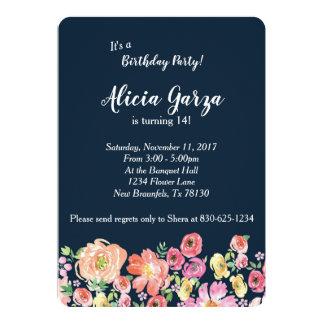 Invitación azul floral