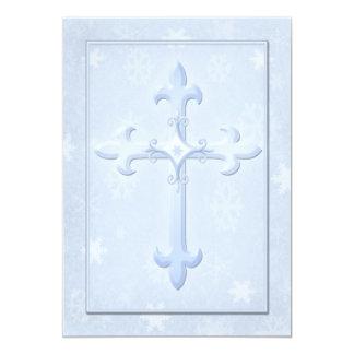 Invitación azul fresca cristiana del boda del