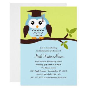 Invitación Azul Linda De La Fiesta De Graduación