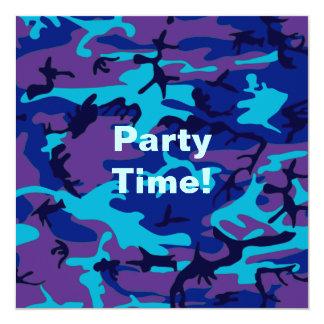 Invitación azul marino y púrpura del camuflaje