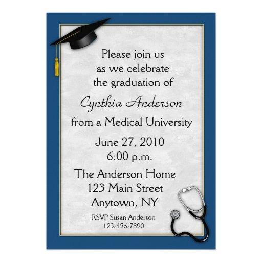 Invitación azul médica de la graduación