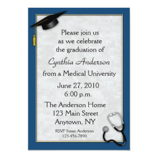 Invitación azul médica de la graduación invitación 12,7 x 17,8 cm