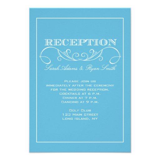Invitación azul moderna de la recepción nupcial
