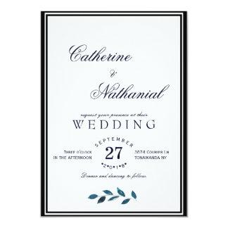 Invitación azul moderna elegante del boda de la