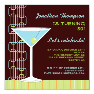Invitación azul retra de la fiesta de cumpleaños