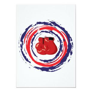 Invitación Azul rojo y blanco de encajonamiento