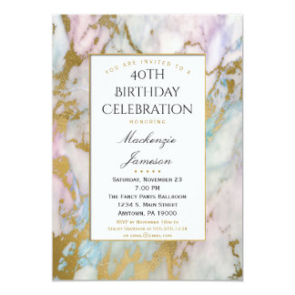 Invitación azul rosada elegante del cumpleaños del
