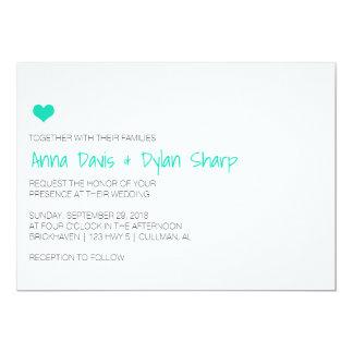 Invitación azul simple del boda del corazón