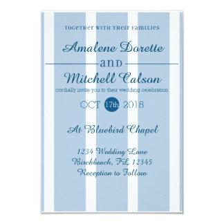 Invitación azul y blanca elegante del boda de la