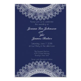 Invitación azul y gris del boda del cordón