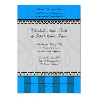 Invitación azul y gris real del boda