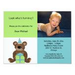 Invitación azul y verde del oso de peluche del invitación 10,8 x 13,9 cm