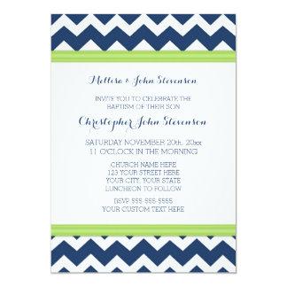 Invitación azulverde del bautismo de Chevron Invitación 12,7 X 17,8 Cm